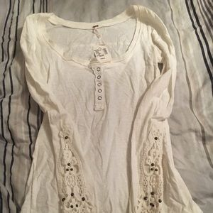 Poof Henley top with crochet sleeves